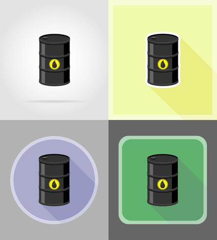 svart fat för olja platt ikoner vektor illustration