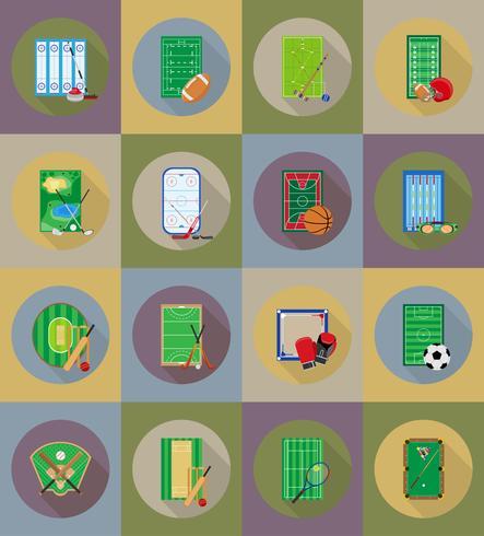 domstol lekplats stadion och fält för sportspel platt ikoner vektor illustration
