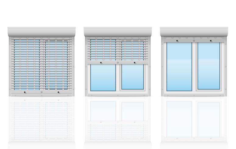 plast fönster bakom metall perforerade rullande fönsterluckor vektor illustration