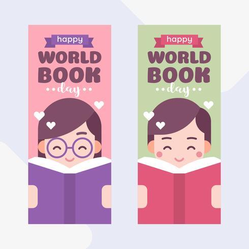 Nette Kinder, die ein Buch lesen. Junge und Mädchen. Weltbuchtags-Karikatur-Vektor-Illustration vektor