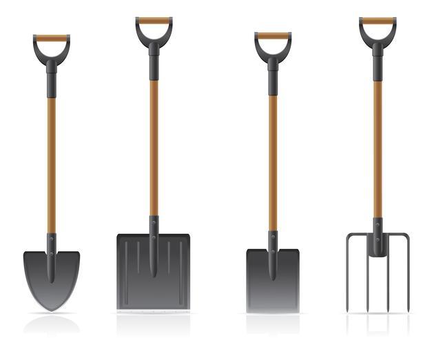 Gartenwerkzeugschaufel und Heugabelvektorillustration vektor