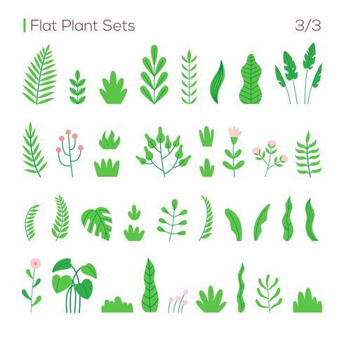 Vektorsatz verschiedene Blätter und Pflanzen in einem flachen Stil. Pflanzen isoliert auf weißem Hintergrund. vektor