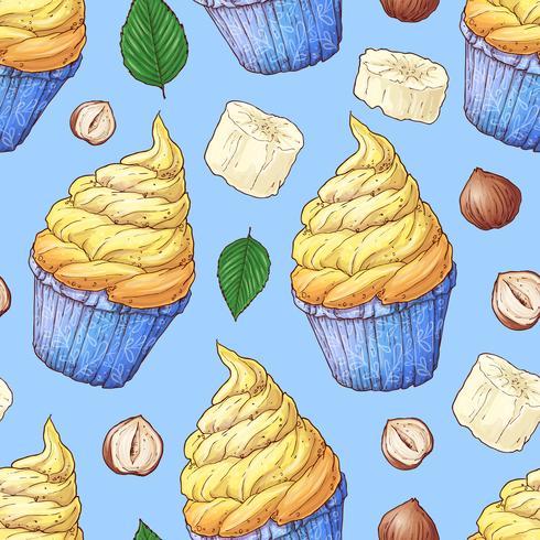 Handritad vektor illustration - Samling av cupcake. Sömlöst mönster.