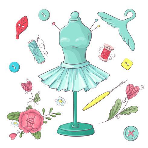 Set nähendes Zubehör des Mannequins. Handzeichnung. Vektor-illustration vektor