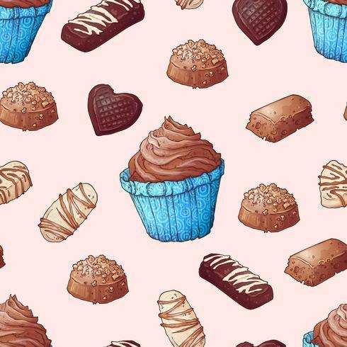 Nahtloses Muster der Schokoladenhandkuchenzeichnung der kleinen Kuchen. Vektor