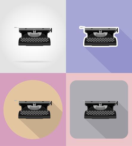 Ikonen-Vektorillustration der alten Retro- Weinleseschreibmaschine flache vektor
