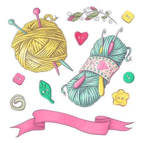En uppsättning stickade kläder klibbar sticknålar. Handritning. Vektor illustration