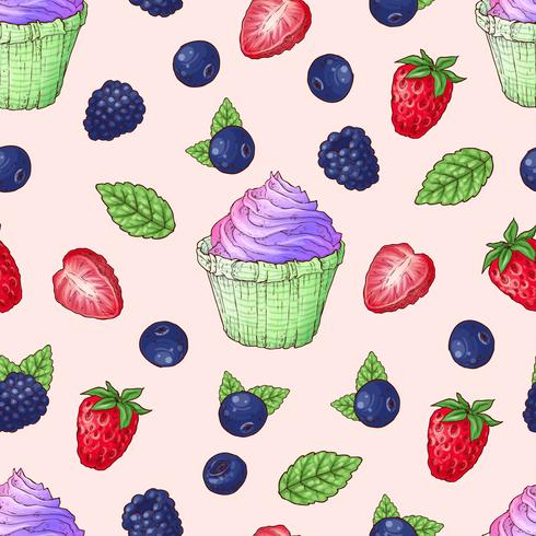 Nahtlose Muster Cupcakes Erdbeere, Blaubeere, Brombeere vektor