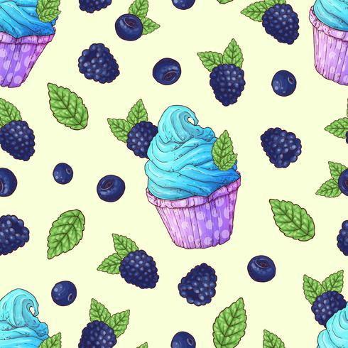 Seamless mönster cupcakes blackberry, blåbär vektor