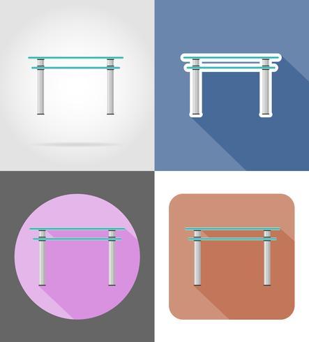 Ikonen-Vektorillustration der Tischmöbel flache flache eingestellt vektor