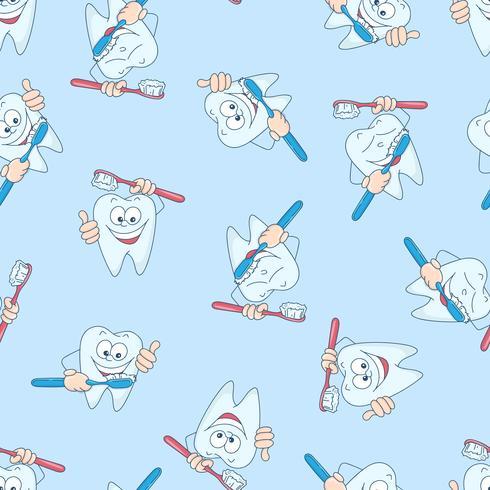 Nahtloses Muster mit lustigen Zähnen. Handzeichnung. Vektor-illustration vektor