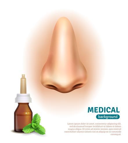 Nasen-Sprühflasche-medizinisches Hintergrund-Plakat vektor