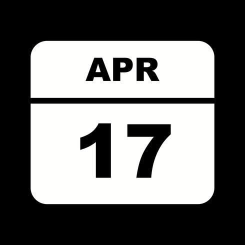 Datum des 17. Aprils an einem Tageskalender vektor