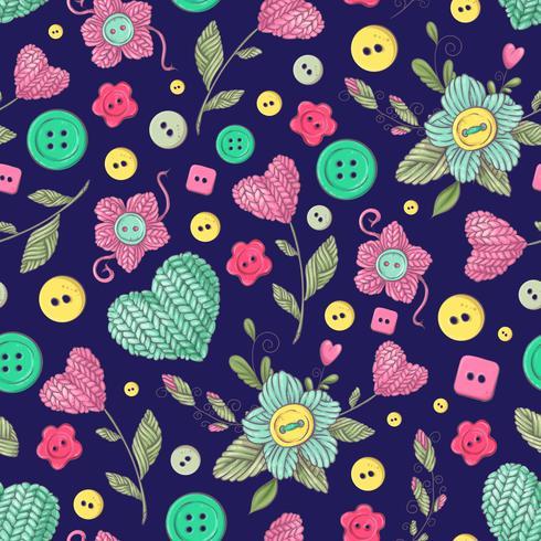 Seamless mönster handgjorda stickade blommor och element och tillbehör för hakning och stickning vektor