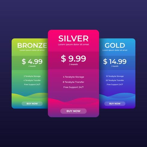 Vorlage für Preistabellen für Websites und Anwendungen vektor