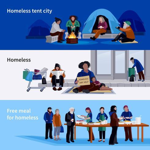 Obdachlose horizontale Banner vektor