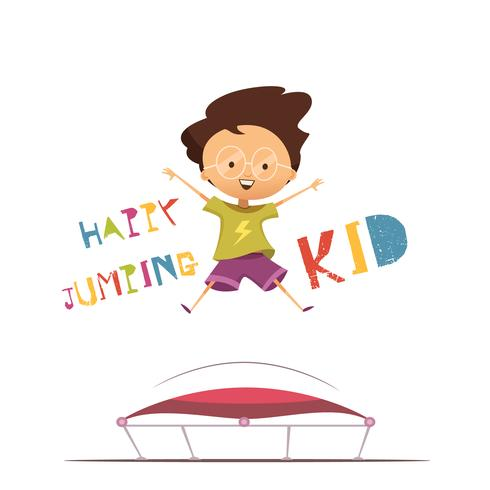 Glad hoppande Kid Vector Illustration