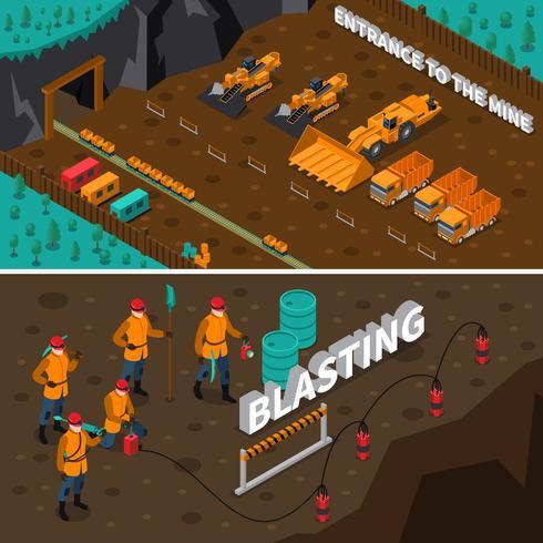 gruvarbetare isometriska banderoller vektor