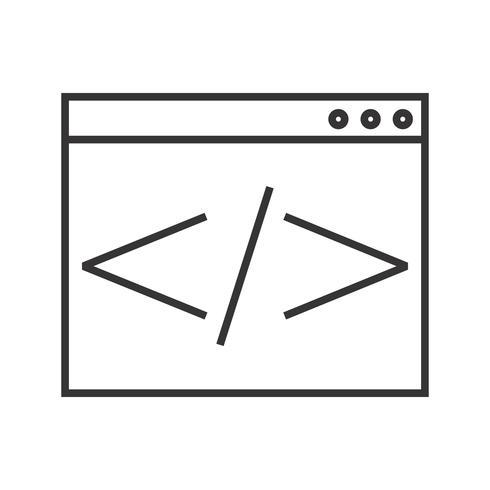 HTML-Codierungszeilen-Schwarz-Symbol vektor