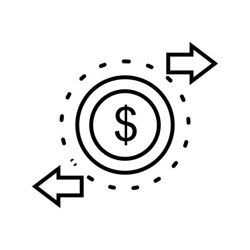 Transaktionslinie Schwarzes Symbol vektor
