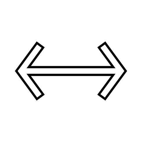 Linke rechte Linie schwarzes Symbol vektor