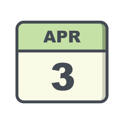 3 april Datum på en enkel dagskalender vektor