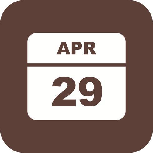 29 april Datum på en enkel dagskalender vektor