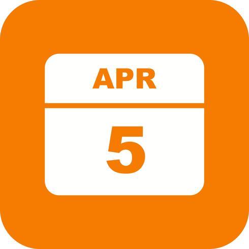 5 april Datum på en dagskalender vektor