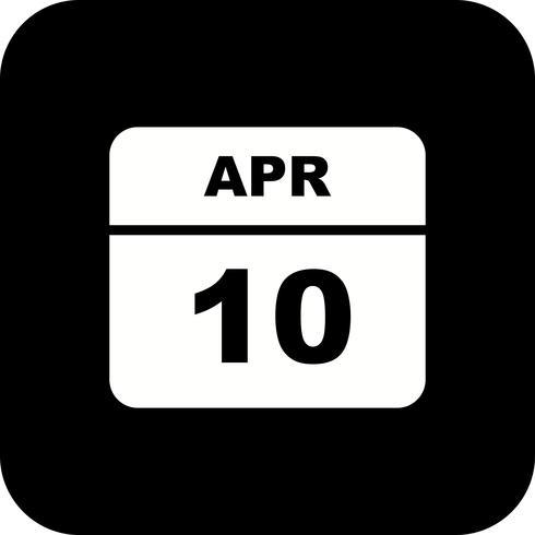 10 april Datum på en enkel dagskalender vektor
