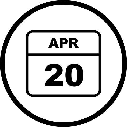 Datum des 20. Aprils an einem Tageskalender vektor