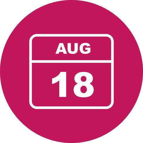 18 augusti Datum på en enkel dagskalender vektor