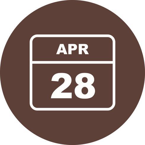 28 april Datum på en enkel dagskalender vektor