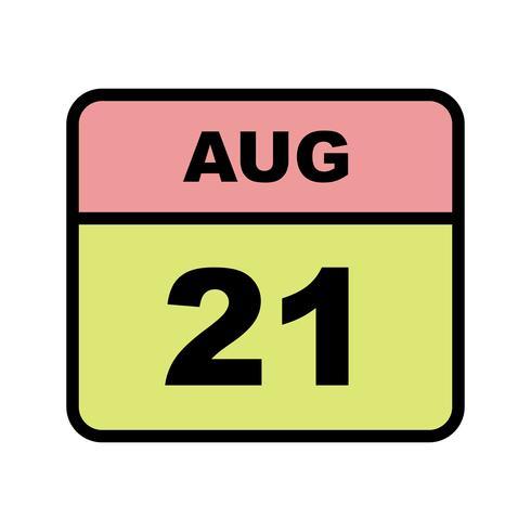 Datum des 21. August für einen Tageskalender vektor