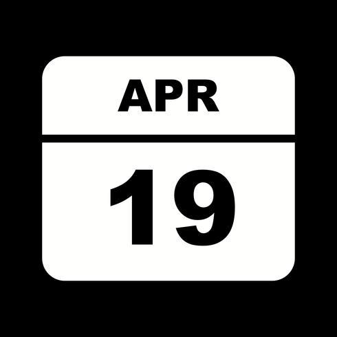 19 april Datum på en enkel dagskalender vektor