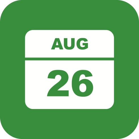 26. August Datum an einem Tageskalender vektor