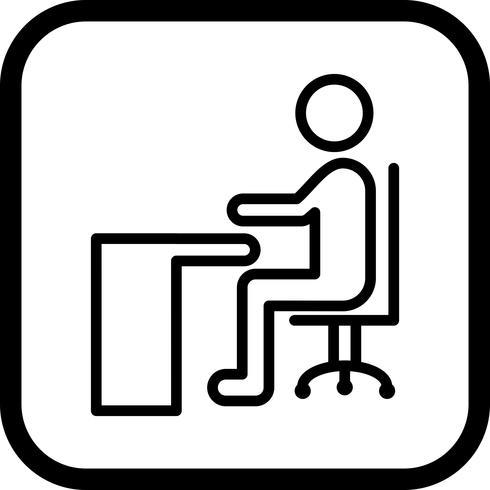 Sitzen auf Schreibtisch-Ikonendesign vektor
