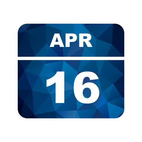16 april Datum på en enkel dagskalender vektor