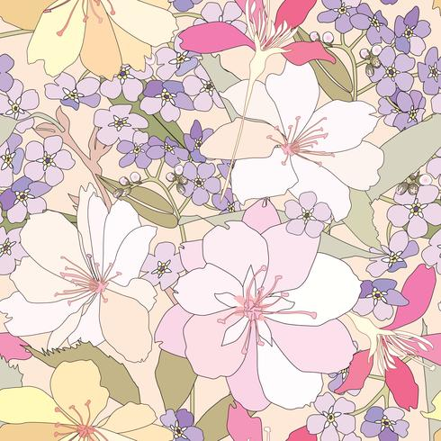 Blommigt sömlöst mönster. Blomma bakgrund vektor
