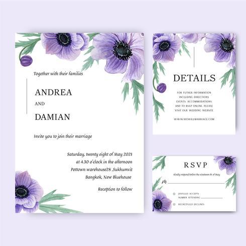 Inbjudningskort för vallmoblommar vattenfärgbuketter, spara datumet, bröllopinbjudningskortdesign. Illustration vektor