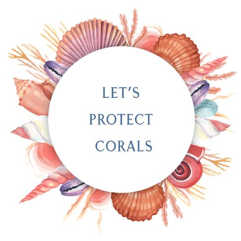 Havskal krans marina livet sommar resa på stranden, aquarelle isolerade, design vektor illustration Färg Coral trendig