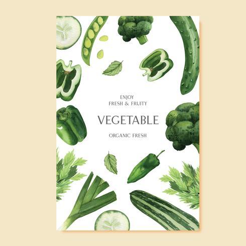 Grön grönsak akvarellaffisch Organisk meny idé gård, hälsosam organisk design, vattenfärg vektor illustration