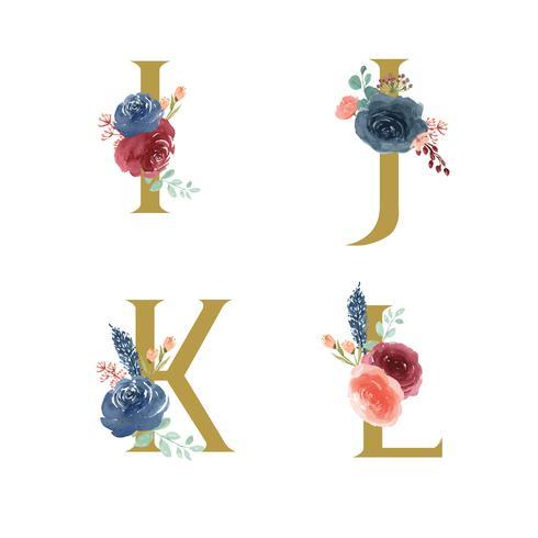 Goldalphabetblumen stellten Sammlung, blau-rote Rose und rosa Pfingstrosenblumenblumensträuße ein, entwerfen für Heiratseinladung, feiern Heirat, Dankkartendekorationweinleseillustration vektor