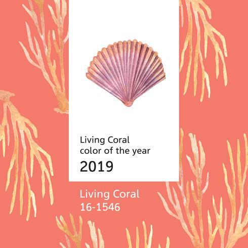 Färben Sie die korallenrote 2019 modisch, Seeoberteillebenszeit-Sommerzeitreise der Strand, Aquarell lokalisierte Vektorillustration vektor