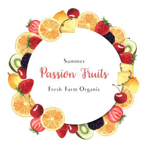 Tropisk årstid frukter kransar banderoll design, passion frukt apelsin fräsch och välsmakande ram, vattenfärg kort design vektor illustration