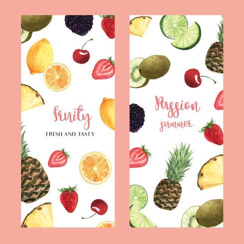 Tropisches Fruchtmenüdesign, Passionsfruchtsommer-Wassermelonenmango, Erdbeer-, Orangen-, neuer und geschmackvoller Rahmen, Fahne, Kartendesign-Vektorillustration. vektor