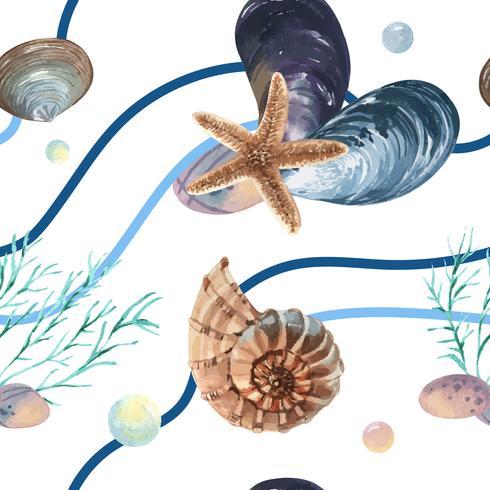 Havskal Marin livsmönster sömlös, resa semester sommartid på stranden, vattenfärg textil isolerad, vektor illustration Färg Coral.