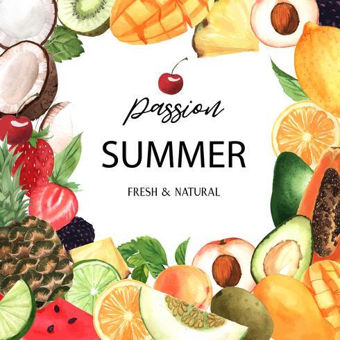 Tropische Fruchtrahmenfahne mit Text, Passionsfrucht mit Kiwi, Ananas, fruchtigem Muster, frisch und geschmackvoll, Aquarell lokalisierte Vektorillustration vektor