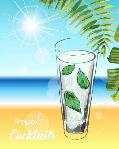 Tropisk cocktail. Sommarlov illustration. vektor