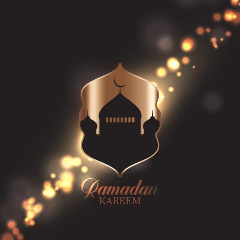 Ramadan Kareem bakgrund med moské silhuett på bokeh ljus design vektor