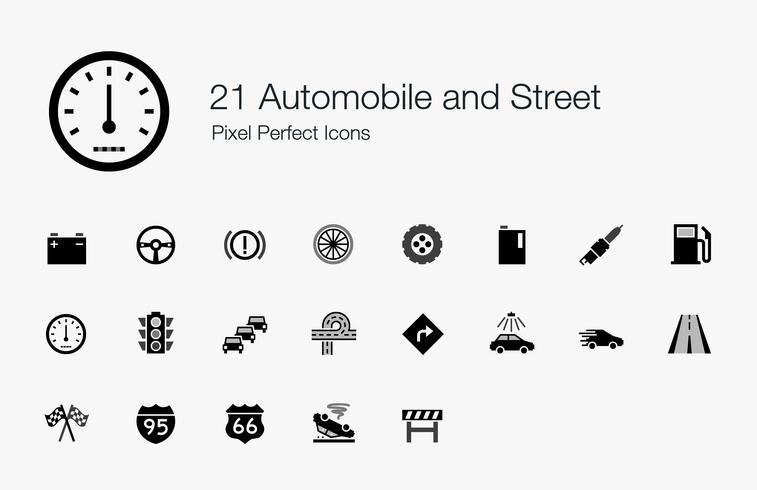 21 Perfekta ikoner för bil och gata pixel. vektor